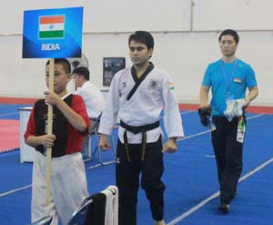Atul Pangotra along with other members of Indian team while representing the country in Asian Taekwondo Championship at Ho Chi Minh City, Vietnam.