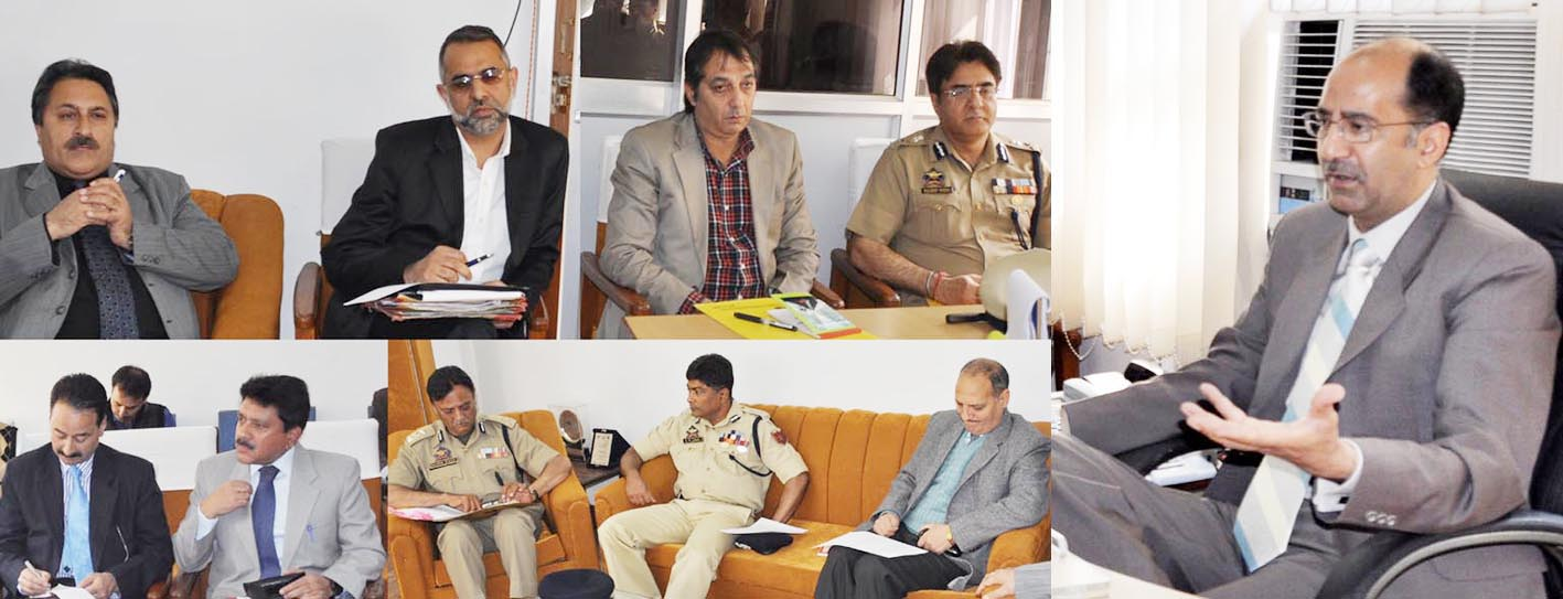 Minister of State for Home, Nasir Aslam Wani chairing a meeting at Srinagar on Tuesday.