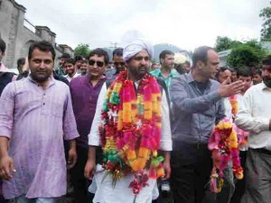 PYC (I) president Shahnawaz Choudhary during 'Jan Chetna Rally' in Bhaderwah on Saturday. —Excelsior/Tilak Raj