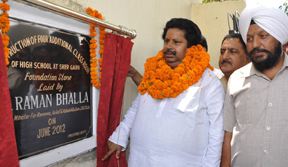 Minister for Revenue, Raman Bhala laying foundation stone of additional accomodation at GHS at Jammu on Saturday.