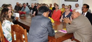Governor, N N Vohra interacting with a group of Scientists from Helsinki University at Srinagar on Saturday.