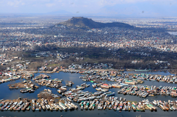 An Aerial View Of Srinagar City Including Parts Of Dal