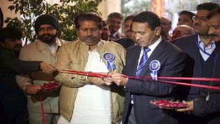 Minister for Urban Development, Nawang Rigzin Jora and Minister for Housing, Raman Bhalla inaugurating '8th Building Material Expo' at Jammu on Thursday. -Excelsior/ Rakesh