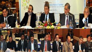 Minister for Finance, Abdul Rahim Rather addressing SLBC meeting at Jammu on Monday.