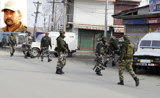 Troops in action during encounter at Sopore on Tuesday. (Inset) ASI Kafeel Ahmed. —Excelsior/Aabid Nabi