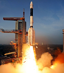 GSLV-D5 carrying 1982 Kg GSAT-14 Communication Satellite successfully lifts-off on Sunday. (UNI)