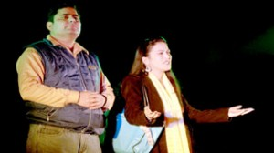 A scene from the play 'Faraz' staged by Naqaib Rangmanch on Monday. -Excelsior/Rakesh
