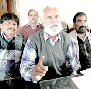 PHE Workers Union leader Bakshi Singh addressing press conference in Jammu on Friday.        -Excelsior/ Rakesh