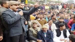 MLA Balwant Singh Mankotia addressing protestors at Udhampur on Saturday.