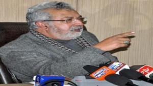 Minister for Medical Education Taj Mohi-ud-Din addressing press conference at Jammu on Saturday.