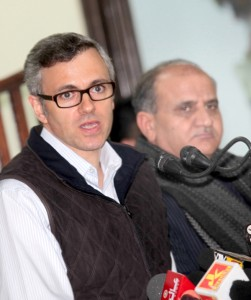 Chief Minister Omar Abdullah and Deputy Chief Minister Tara Chand, who headed the CSC, at a press conference in Jammu on Saturday.   —Excelsior/Rakesh