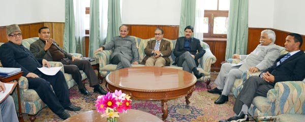 The CSC on new administrative units meeting at State Guest House in Jammu on Friday.