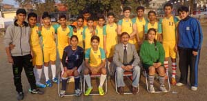 J&K Mini Football team posing alongwith Dr Brij Baloria, general secretary of Mini Football Association before leaving for Hyderabad.