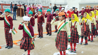 Students of Mohammad Ilyas Memorial School Bathindi performing activity during annual day function.