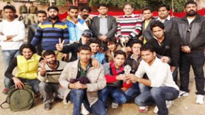 Winners posing for a photograph alongwith dignitaries during semifinals of BJYM Cricket Tournament.