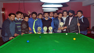 Cueists alongwith the dignitaries during Snooker/Billiards Tournament in Jammu on Thursday.