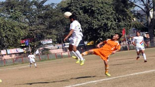 Tough tussle between the players to get hold of the ball during a football match in Jammu on Thursday.
