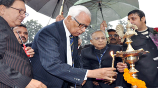 Union Minister Jaipal S Reddy and Governor N N Vohra lighting ceremonial lamp while inaugurating Expo-2014 at JU on Monday.