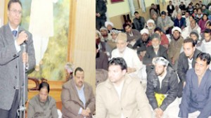 Minister for CAPD Ch Mohd Ramzan addressing a gathering at Sher-e-Kashmir Bhawan on Monday.