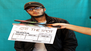 Iqbal Singh during recording of song for film 'Daag, the Spot'.