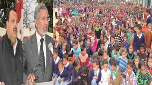 Provincial President NC Devender Singh Rana and MLA Abdul Gani Malik addressing public gathering at Jammu on Sunday.