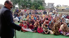 MLA Surjit Singh Slathia addressing a gathering in Samba on Sunday.
