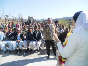 Dr Darakhshan Andrabi addressing a rally at Agarti, district Rajouri on Wednesday.