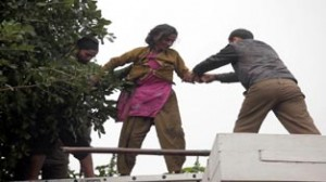 Police personnel bringing down a woman from a tree near Tawi bridge on Monday. -Excelsior/Rakesh