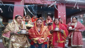 Women offering special Pooja in a temple during  `Kunchoth' festival in Bhaderwah. -Excelsior/ Tilak Raj