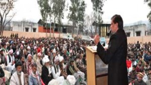 Minister for Forest Mian Altaf Ahmad addressing Gojri Adbi Millan at Nowshera on Monday.