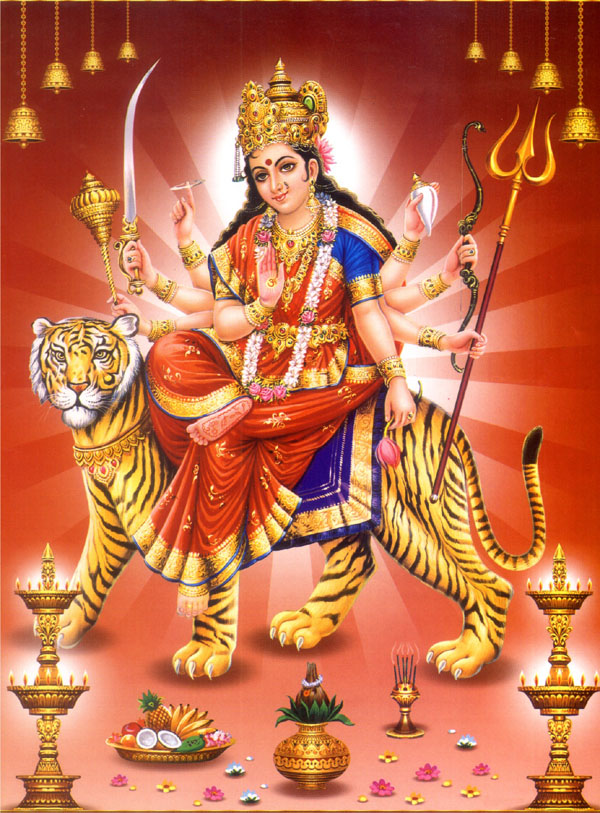 Goddess Durga And Nine Planets