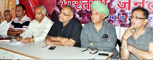 Avinash Rai Khanna addressing BJP office bearers in a meeting at Jammu on Friday.-Excelsior/ Rakesh