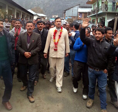 Minister of State for Home Sajjad Ahmed Kichloo during a road show at Kishtwar on Friday.