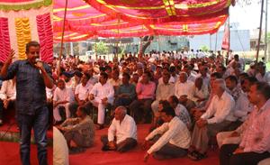 JSM MLA Ashwani Sharma addressing a workers' meeting at Bishnah on Sunday.
