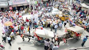 Tanga ride during first day of Baisakhi Festival. -Excelsior/Rakesh