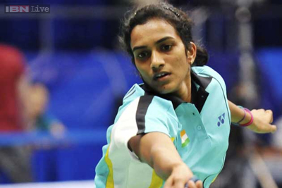 P V Sindhu in action at Singapore Open.