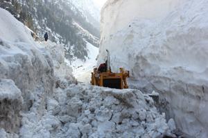 Beacon clearing snow from Srinagar-Leh National Highway at Zojila.