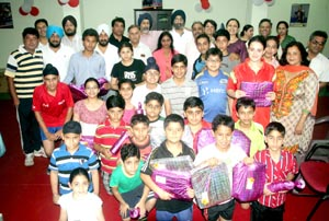Winners of Ist Stag Jammu Open Table Tennis Championship posing for group photograph. -Excelsior/Rakesh