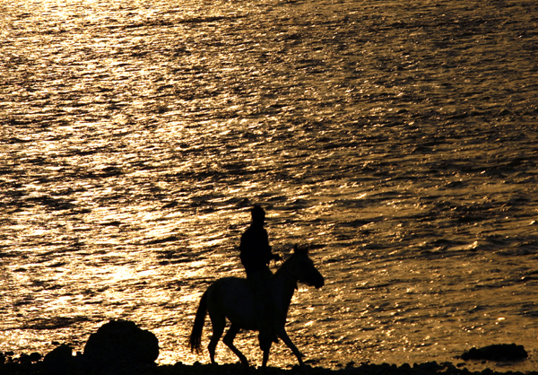A man rides his horse during sunset in Jammu. -Excelsior/Rakesh
