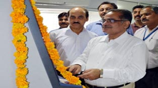 Regional Head, S K Kapoor inaugurating cash deposit machine at Bari Brahmana on Tuesday.