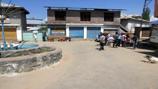 Kishtwar market wearing a deserted look as the town observes a bandh on Tuesday.