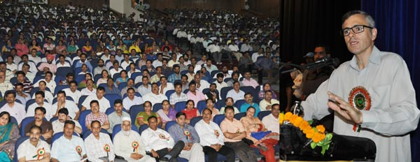 Chief Minister Omar Abdullah addressing ReTs conference in Jammu on Friday.