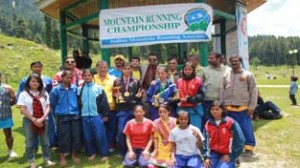 Winners of Mountain Running Challenge posing for a group photograph.