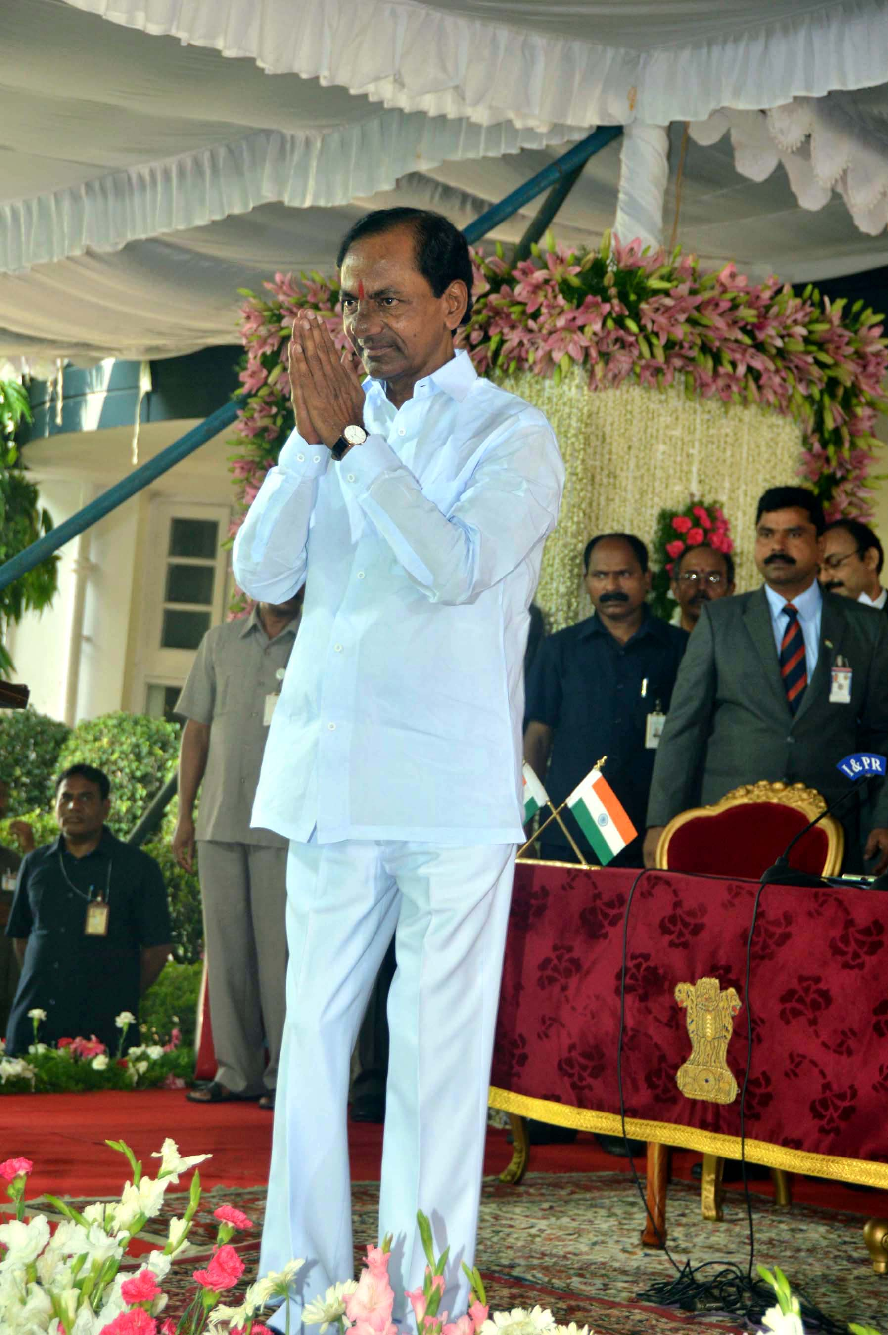 K Chandrasekhar Rao after being sworn-in as first Chief Minister of Telangana at Raj Bhavan in Hyderabad on Monday. (UNI)