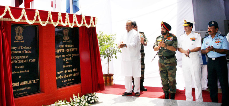 Union Minister for Finance, Corporate Affairs and Defence, Arun Jaitley unveiling the plaque to lay the foundation stone of HQ Integrated Defence Staff (IDS) building complex, in New Delhi on Friday.