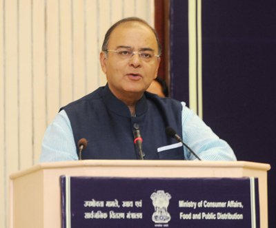 Union Minister for Finance, Corporate Affairs and Defence, Arun Jaitley addressing the State Food Ministers Conference, in New Delhi on Friday. (UNI)