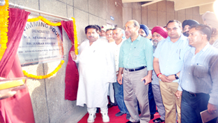 Minister for Sports, Raman Bhalla inaugurating renovated swimming pool at MA Stadium in Jammu on Friday.