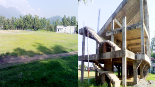 A view of multi-purpose ground and centre pavilion at Subash Stadium in Udhampur.