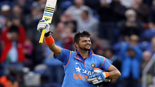 India's Suresh Raina celebrating his century during One Day International against England on Wednesday.