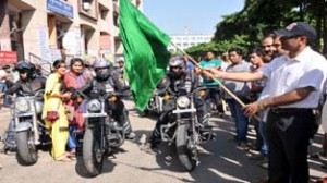 IGP Jammu, Rajesh Kumar flagging off riders Expedition from Bahu Plaza in Jammu on Sunday. —Excelsior/Rakesh